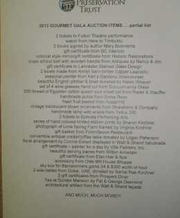 2013 Gourmet Gala Auction Items