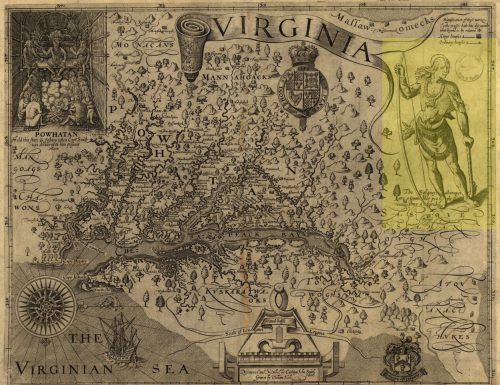 "Depiction of a Conestoga man highlighted in yellow on the 1624 Smith Map. The handwritten caption reads (in modern English): ""The Susquehannocks are a giant-like people and thus attired."""